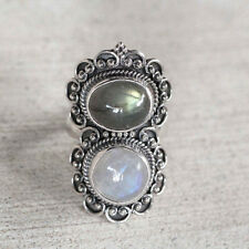 Rainbow Moonstone, Labradorite Pure 92.5 Solid Sterling Silver Ring Size 3-13 US