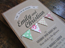 SAMPLE • VINTAGE FABRIC BUNTING WEDDING INVITE + DETAILS BOOK shabby chic rustic