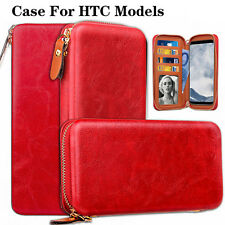 Red Zip Wallet Magnetic Leather Cover Flip Phone Wallet Case For HTC Models