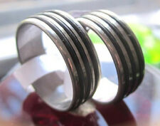 Stainless steel Ring with 3 Rubber Strip black Various Sizes