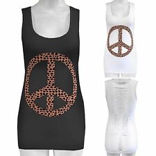 LADIES PEACE LEOPARD PRINT TOP SLEEVELESS VEST TOPS WOMENS SUMMER FESTIVAL SHOP
