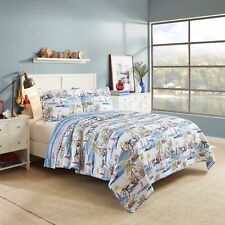Twin Full Queen King Bed Red Blue Beach Ocean Palm 3pc Cotton Quilt Set Coverlet
