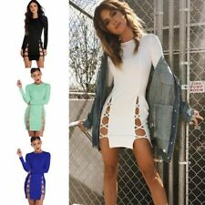 Womens Sexy Long Sleeve Bandage Side Hollow Bodycon Dress Club Wear Party Skirt