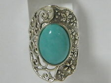 Authentic Women's Ring 925 Sterling Silver Cocktail Turquoise Ring