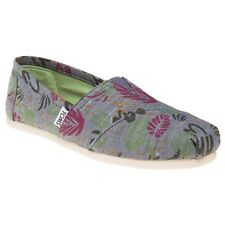 New Womens Toms Grey Multi Classic Textile Shoes Espadrilles Slip On