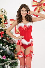 Ladies Sexy Mrs Christmas Santa Corset Lingerie Fancy Dress Costume Outfit