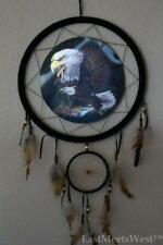 Licensed Authentic Hand Made 3D Flying Eagles Dream Catcher natural feathers