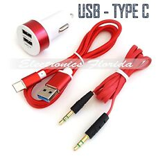 Car Charger + 3Ft Braided Cord Cable USB Type-C + Audio Cable Top Quality Red