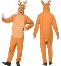 Mens Rudolph Reindeer Jumpsuit Christmas Animal Xmas Fancy Dress Costume Outfit