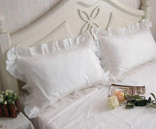 Simply Ruffles Edge Lace Crochet Pillowcase Slip Cover Cotton White Matching