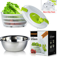 Premium Large MOSIGOM Salad Spinner With Stainless Steel Serving Bowl