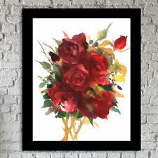 East Urban Home 'Deep Red Roses' Framed Print of Painting