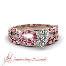 .90 Ct Rose Gold Pear Shaped Diamond And Pink Sapphire Womens Wedding Ring Sets