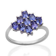 Tanzanite, White Topaz Silver Ring 925 Solid Sterling Silver Jewelry Size 9.0 US