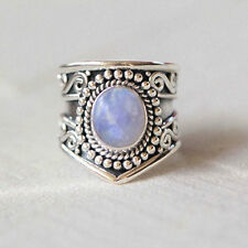 Blue Rainbow Moonstone 925 Solid Sterling Silver Handmade Ring Size F - Z 1/2 AU