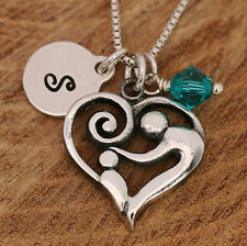925 Sterling Silver Personalised Love Heart Family Mother & Kid Pendant Necklace