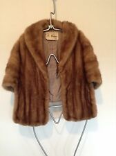 Beautiful Vintage Mann Brown Mink Fur Women's Cape Small-Med w/Snap up 'Sleeves'