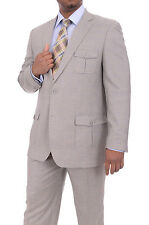 Apollo King Mens Heather Gray Windowpane Two Button Wool Suit With Patch Pockets