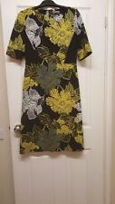 NEXT Black Yellow Grey Floral Print Smart Strechy Comfy Womens Dress Vgc Size 12
