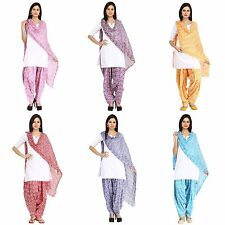 Salwar Dupatta Set Full Free Size Cotton Ethnic Ladies Wear Patiala Pants Scarf