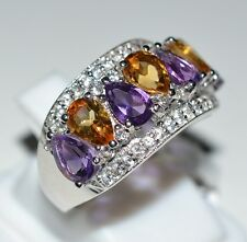 Amethyst, Citrine, White Topaz Ring 925 Solid Sterling Silver Jewelry Size 7 US