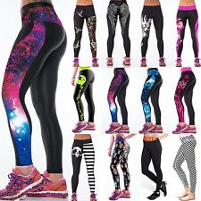 Women 3D Digital Print Skinny Leggings Stretchy Funky Compression Gym Yoga Pants