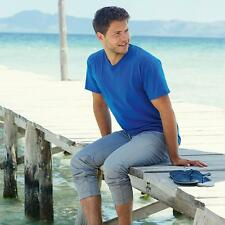SS034 MENS V NECK FRUIT OF THE LOOM COTTON BLUE TEE T-SHIRT T SHIRTS