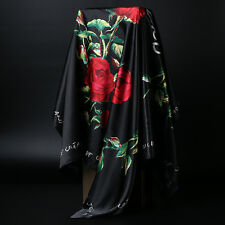 "Silk-Satin Square Scarf Women's Black Rose Printed Hijab Scarves Head 35""*35"""