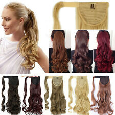 Woman Long Thick Ponytail Clip In Hair Extension Piece Straight Wavy as Human A3