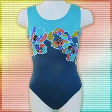 Girls Gymnastics leotard Child 6-14 Teal shades orange gold floral NEW leo