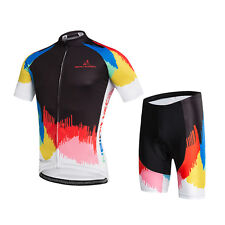Colorful Men's Cycling Set Bicycle Clothes Bike Jersey and Shorts Padded Kit