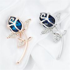 Alloy Brooch Clothing Brooches Rhinestone 1Pcs Gift Rose Flower Crystal