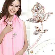 1Pcs Brooch Gift Brooches Clothing Crystal Rhinestone Rose Flower Alloy