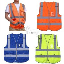 Unisex High Visibility Zipper Front Breathable Safety Vest with Reflective M-XXL