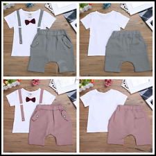 Baby Boys Short Sleeve Stripe Suits Outfit T-shirt+Short Pants Size 6 Months-3