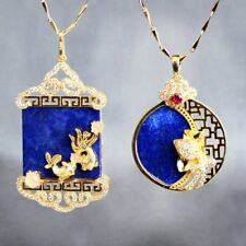 NEW Asian Women pendant necklace Lapis Lazuli 925 silver gold plated FREE GIFT