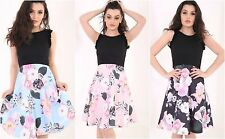 Ladies contrast floral flower print black blue pink sleeveless skater dress 8-18