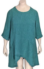 GRIZAS XL ( US 16 / 18 ) Silk Linen Arched Hem Tunic Top - NWT Orig. $240