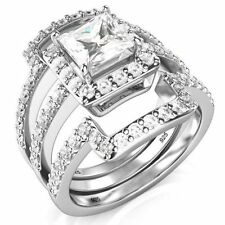 Elegant Sterling Silver 3Pcs 925 CZ  Engagement Wedding Band Ring Set