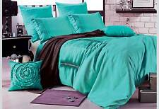 Aqua Green duvet cover set / 3pcs pintuck pattern quilt cover set by Luxton