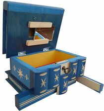 Wooden Jewelry Secret Puzzle Box, with Secret Compartment the Key Hidden Drawer