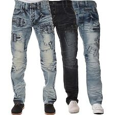 New ETO Designer Mens Straight Leg Jeans Blue Wash Stylish Detail Denim Pants