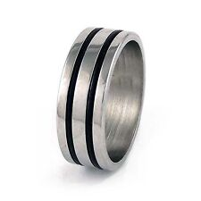 Stainless Steel Double Lined Design Mens Band Ring