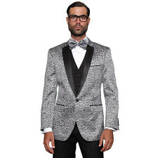 Silver Modern Fit 1 Button Swirls Sharkskin Bellagio Tuxedo Suit by Statement