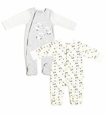 Unisex baby lamb 2 pack sleepsuits newborn 0-3-6 months boy girl grey gift new
