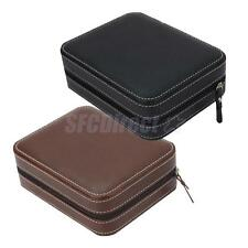 4 Slots Faux Leather Dual Watch Travel Case Display Collector Storage Zipper Box