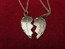 14KT GOLD EP 2 PC FRIENDS FOREVER SPARKLE CUT CHARM  WITH 2 ROPE CHAINS SET-1572