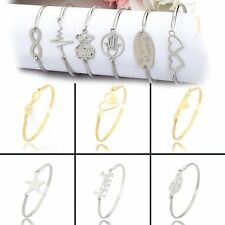 Charm Stainless Steel Cross Feather Heart Love Cuff Bangle Bracelet Womens Gift