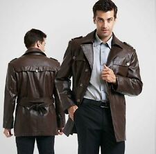 Brand New Men's Genuine Real Lambskin Soft Leather Trench Coat Long Jacket TC008
