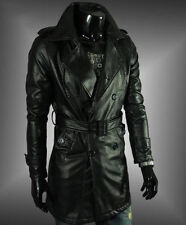 Brand New Men's Genuine Real Lambskin Soft Leather Trench Coat Long Jacket TC009